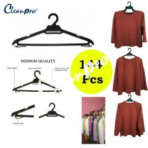 Cleanpro Laundry Dobi Hanger Non Slip Clothes Hanger Super Value Pack - 144 pcs (Black)