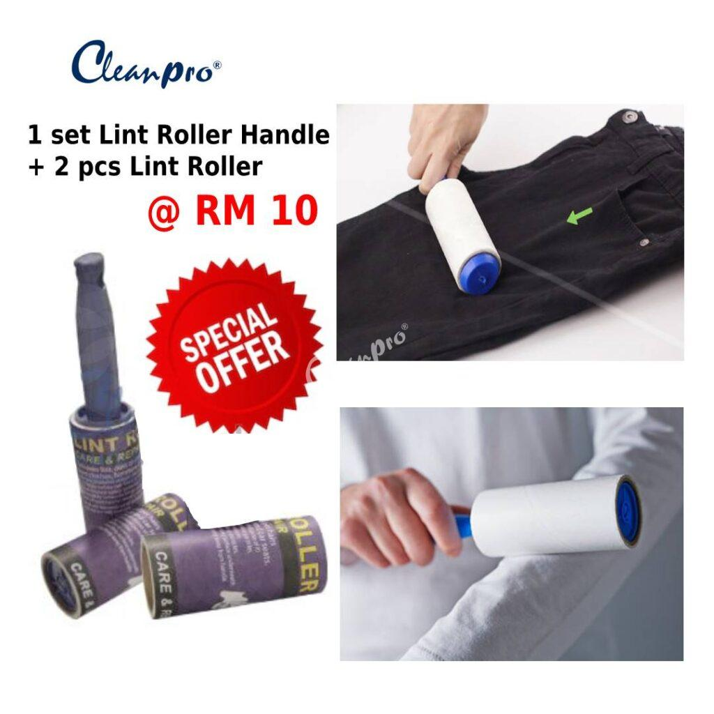 1 set of lint roller with 2 pieces of lint roller refill
